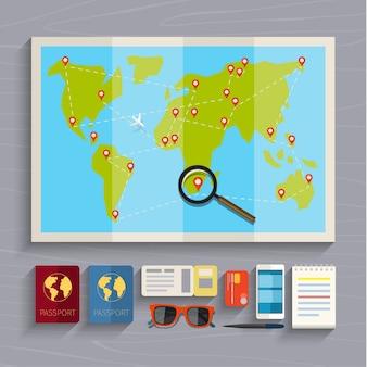 休暇の計画の概念。カラフルな旅行イラスト