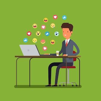 先延ばしの概念。ビジネスマンはインターネットに時間を費やしています。フラットなデザイン、ベクトルイラスト。