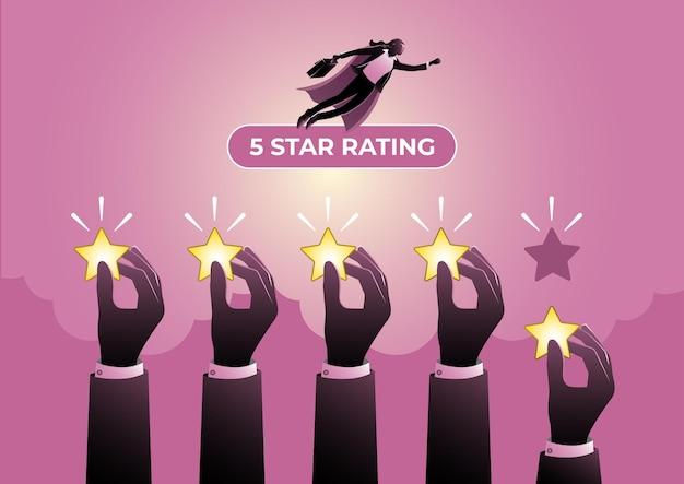 Понятие ставки. руки держат 5 рейтинговых звезд