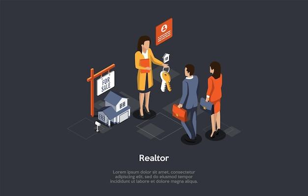 부동산 임대 및 구매의 개념입니다. 부동산업자는 새 집에서 젊은 부부에게 열쇠를 제공합니다. 사람들은 집이나 아파트를 구입하거나 임대했습니다. 부동산 중개 서비스.