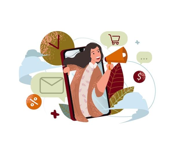 リファラルマーケティングの概念メガホンで女性が叫ぶ友人のプロモーション方法を紹介するソーシャルメディアのランディングページテンプレートに使用できるuiウェブデジタルビジネス現代のフラットベクターイラスト