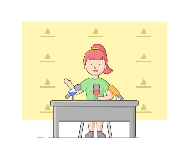 Концепция репортажа и интервью. молодая женщина дает интервью в студии. ведущий новостей говорит в микрофон перед камерой. опрашивающий дает интервью. линейный контур плоский стиль. векторные иллюстрации.