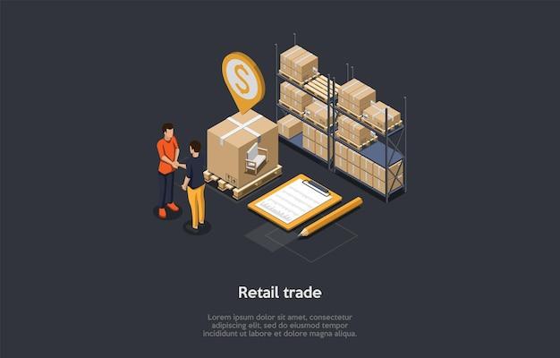 소매 무역의 개념. 사업 사람들은 공급 상품을 거래합니다. 창고에서 악수하는 캐릭터. 팔레트 및 선반에있는 골판지 상자에있는 상품.