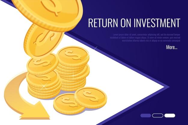 投資収益率の概念。金融ビジネス会社のwebヘッダー。