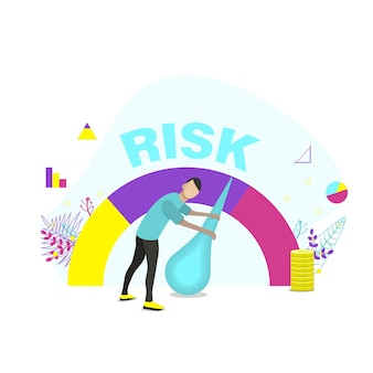 속도계의 위험 개념은 높음, 중간, 낮음입니다. 남자는 사업이나 삶에서 위험을 관리합니다. 평면 벡터 일러스트 레이 션.