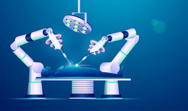 로봇 수술 또는 의료 기술 발전의 개념, 미래 요소를 가진 인간을 조작하는 로봇 팔의 그래픽