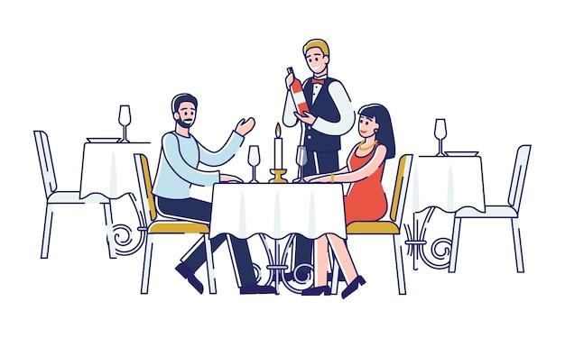 ロマンチックなディナーのコンセプト。若い幸せなカップルがレストランで注文しています。