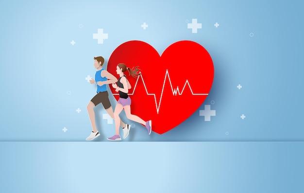 健康のために走るという概念。ペーパーカット。