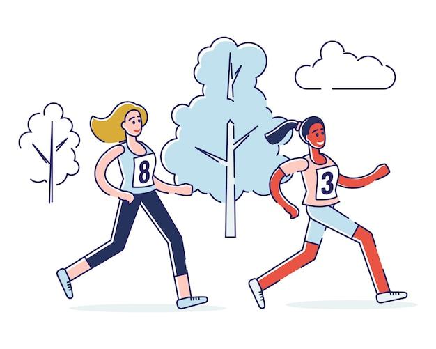 Концепция бега марафона, здорового образа жизни. женщины бегают марафон.