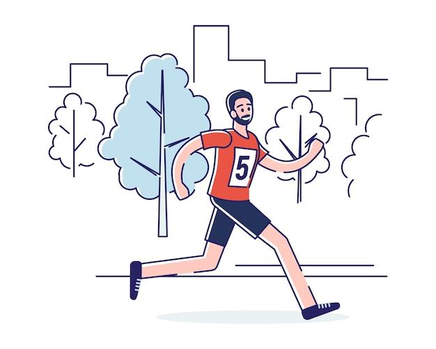 Концепция бега марафона, здорового образа жизни.