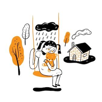 슬픔, 향수, 손실, 손 그리기 벡터 일러스트 낙서 스타일의 개념