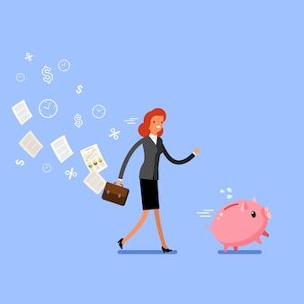 돈을 절약의 개념입니다. 비즈니스 우먼은 돼지 저금통을 잡습니다. 평면 디자인, 벡터 일러스트 레이 션