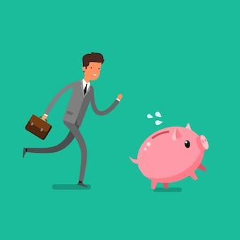 お金を節約するという概念。ビジネスマンは貯金箱をキャッチします。フラットなデザイン、ベクトル図