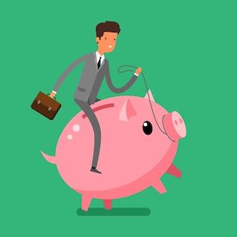 お金を節約するという概念。貯金箱に乗っているビジネスマン。フラットなデザイン、ベクトル図