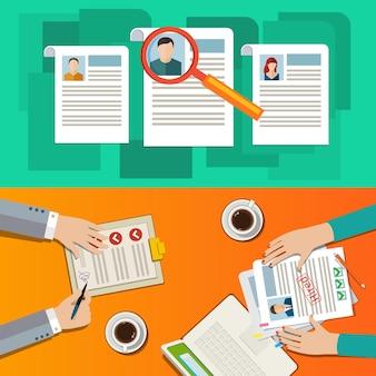 専門スタッフの検索、人事履歴書の分析、採用、人的資源管理、時間の仕事の概念。フラットなデザイン、ベクトルイラスト。