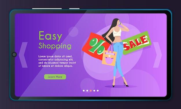 계절 할인의 개념입니다. 매력적인 젊고 세련되게 옷을 입은 여성이 상점에서 전화 할인에 대해 논의합니다. 쇼핑을 기대하는 소녀.
