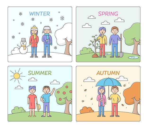 계절의 개념. 올해의 시간에 따라 사람들이 여가와 옷. 여름, 가을, 겨울, 봄 남성과 여성 캐릭터. 만화 선형 개요 평면 벡터 일러스트 세트입니다.