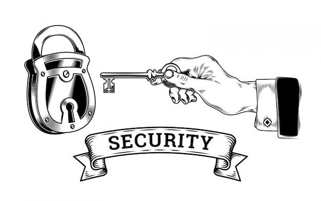 보안의 개념-키가있는 손이 열리고 자물쇠가 닫힙니다.