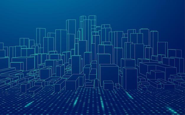 スマートシティまたは未来都市の概念、デジタル技術要素を備えた建物のグラフィック