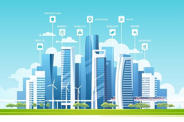 Концепция умного города с различными значками и элементами. городской пейзаж со зданиями и небоскребами.
