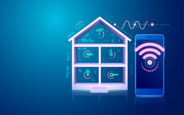 スマートホームまたはモノのインターネット(iot)の概念、ホームテクノロジーインターフェイスのグラフィック
