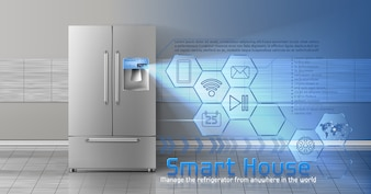 Concept of smart house, iot, wireless digital technologies to manage and control household