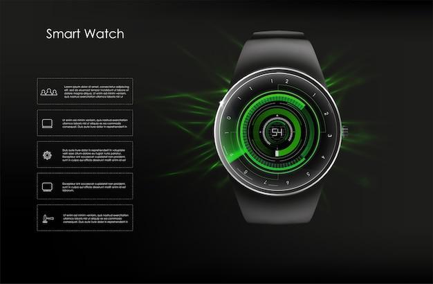 Концепция умных часов в зеленых тонах. образ.