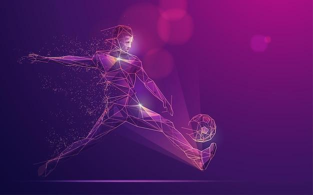 スポーツ科学技術の概念、未来的な要素を持つ多角形のサッカー選手