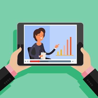 ストリーミング、学習と学習、遠隔教育と知識の成長の概念。オンライン会議とウェビナーのアイコン。フラットなデザイン、ベクトルイラスト。