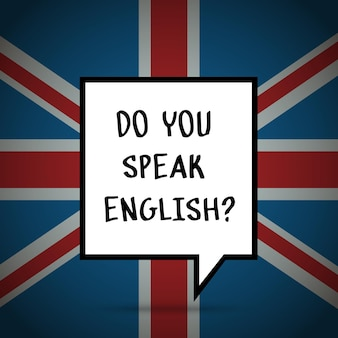 英語の勉強や旅行の概念。フレーズイギリスの旗の前で英語を話しますか。