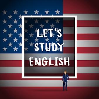 英語の勉強や旅行の概念。フレーズアメリカの国旗の前で英語を話しますか。
