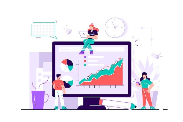 성공의 개념, 목표에 도달, 사업의 삽화, 직원 인포 그래픽을 연구, 진화 규모, 온라인 교육을 분석합니다. 웹 페이지에 대한 평면 스타일의 현대적인 디자인 일러스트 레이션