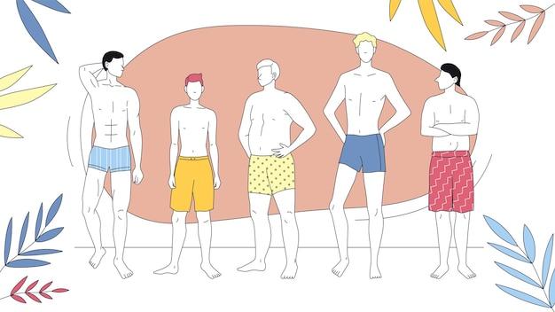 여름 휴가, 아름다움과 패션의 개념. 행에 함께 서있는 수영복에 남자의 그룹입니다. 추상적 인 배경에 아름 다운 소년입니다. 만화 선형 개요 플랫 스타일. 벡터 일러스트 레이 션.