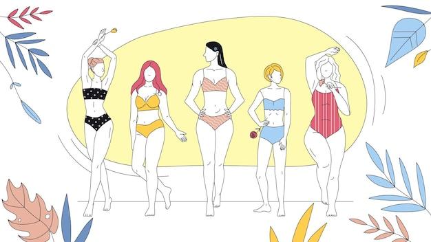 여름 휴가, 아름다움과 패션의 개념. 행에 함께 서 수영복에 여자의 그룹입니다. 추상적 인 배경에 아름 다운 여자입니다. 만화 선형 개요 플랫 스타일. 벡터 일러스트 레이 션.