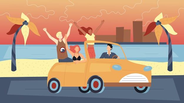 夏休みの概念。夏休みに車で旅行する幸せな友達。人々はカブリオレの運転を楽しんでいます。男性と女性のキャラクターが一緒に旅行します。漫画フラットスタイル。ベクトルイラスト。