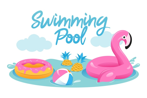 夏休みの概念。ボール、スイミングプールのゴムリングとかわいいインフレータブルピンクフラミンゴ。プールでのアクティブな時間と夏休みのためのおもちゃ。