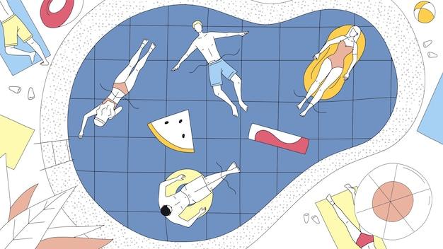 夏休みの概念。休暇中にプールでリラックスする幸せな人々。男性と女性のキャラクターは、プールのエアマットレスとゴムリングに太陽の下で横たわっています。