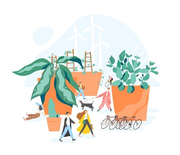 持続可能な、エコまたはグリーンな都市、自動車のないエリア、都市の持続可能性、歩きやすいアーバニズムの概念。鉢植えの巨大な植物の中を歩く人々。モダンなフラットスタイルのカラフルなベクトルイラスト。