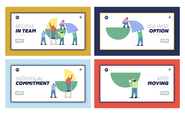 Концепция совместной работы, формирования бизнес-отчета. целевая страница веб-сайта.