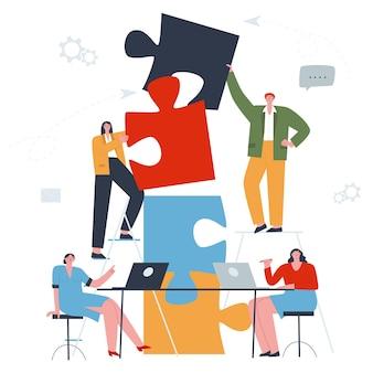 노트북에서 작업하는 테이블에서 퍼즐 끝 사람들을 연결하는 팀워크 사람들의 개념 플랫
