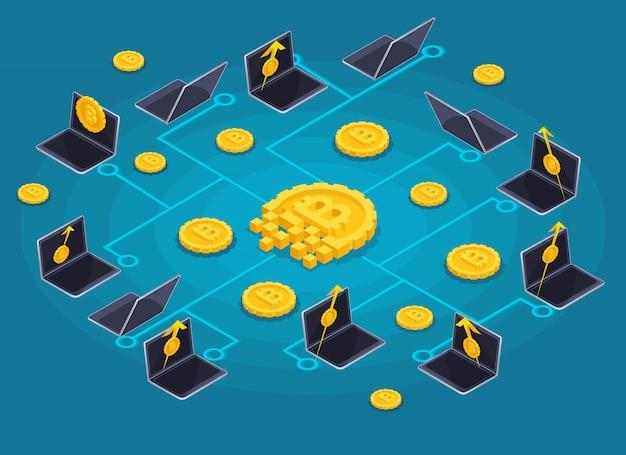 Концепция инфографики blockchain, криптовалютный майнинг, иллюстрация запуска проекта