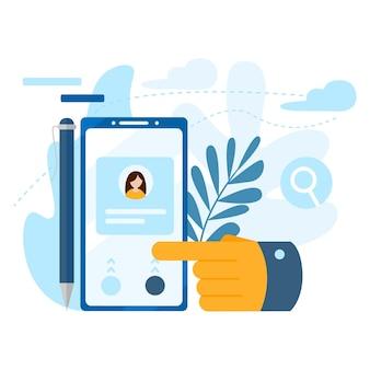 통화, 주소록, 메모장의 개념입니다. 문의 아이콘입니다. 큰 손은 스마트폰 화면의 버튼을 누릅니다. 현대 평면 벡터 일러스트 레이 션 개념, 흰색 배경에 고립.