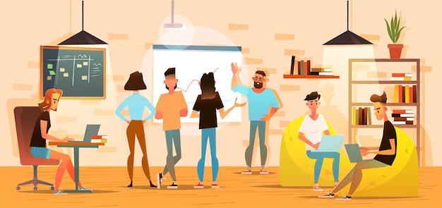 Концепция коворкинг-центра. общая рабочая среда. люди разговаривают и работают за компьютерами в офисе открытого пространства