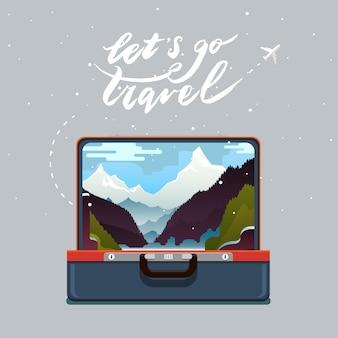 旅行の概念。旅行に行きましょう。山の風景とスーツケースを開きます。フラットなデザイン、ベクトルイラスト。