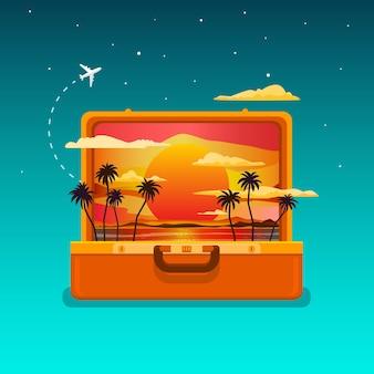 Концепция путешествия. открытый оранжевый чемодан с закатом и пальмами. плоский