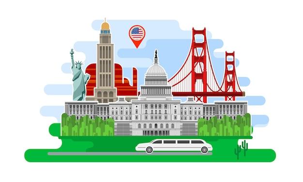 여행이나 영어 공부의 개념. 랜드마크가 있는 미국 국기. 멋진 미국 여행. 여행할 시간입니다. 미국 관광. 평면 디자인, 벡터 일러스트 레이 션