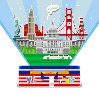 여행이나 영어 공부의 개념. 열린 가방에 랜드마크가 있는 미국 국기입니다. 미국에서의 훌륭한 휴가. 좋은 미국 여행. 여행할 시간입니다. 평면 디자인, 벡터 일러스트 레이 션