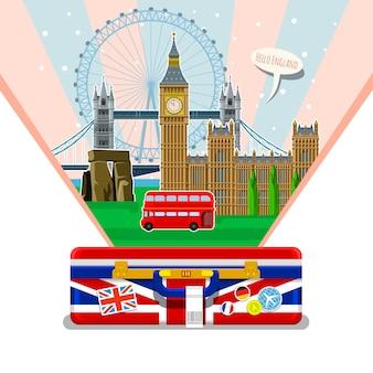 旅行や英語の勉強の概念。オープンスーツケースのランドマークと英語の旗。イギリスでの素晴らしい休暇。イギリスへの素晴らしい旅行。旅行する時間。フラットなデザイン、ベクトル図