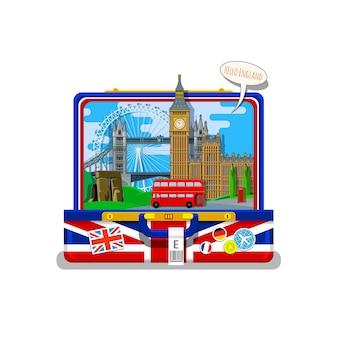 旅行や英語の勉強の概念。オープンスーツケースのランドマークと英語の旗