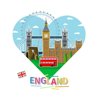 旅行や英語の勉強の概念。ハートの形をしたランドマークのある英語の旗。フラットなデザイン、ベクトル図